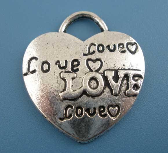 SILVER TONE - HEART WITH LOVE ON - PACK OF 5