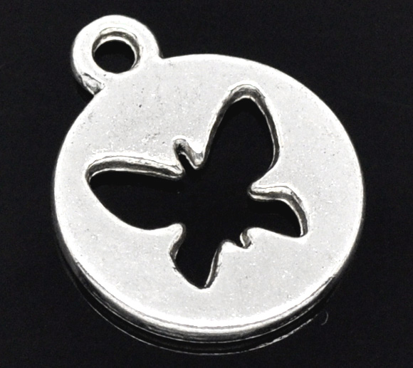 SILVER TONE - ROUND BUTTERFLY CUT OUT DISK - PACK OF 5