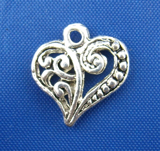 SILVER TONE - FILIGREE HEART - PACK OF 5