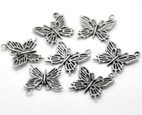 SILVER TONE - FILIGREE BUTTERFLY - PACK OF 5