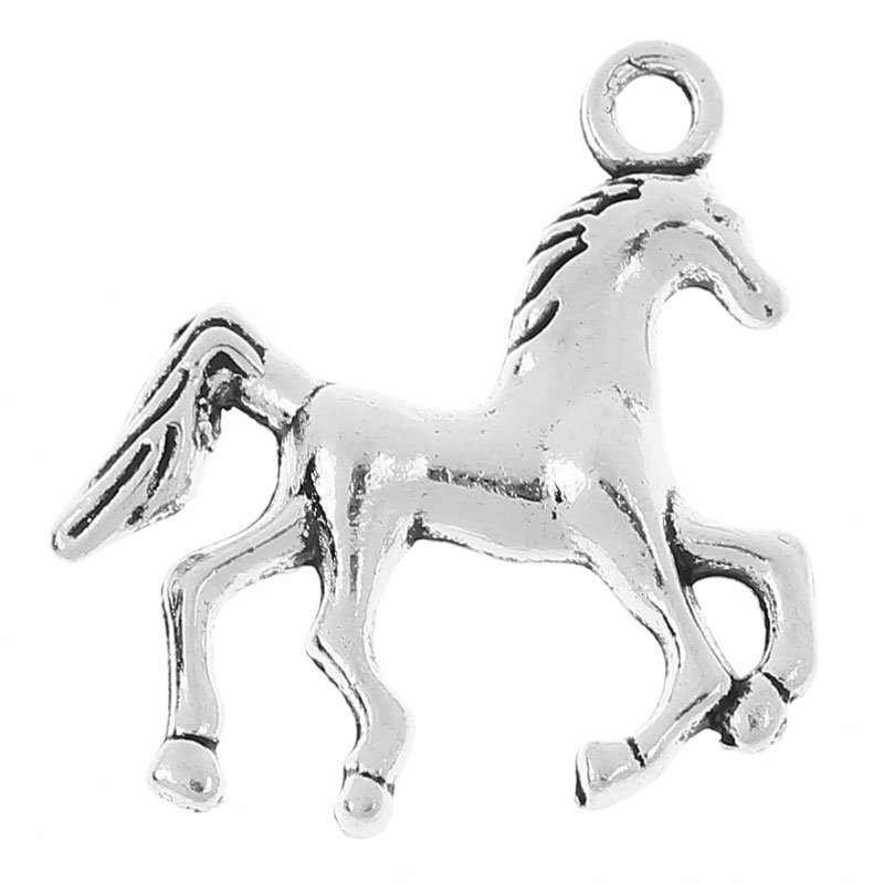 SILVER TONE - GALLOPING HORSE - PACK OF 5