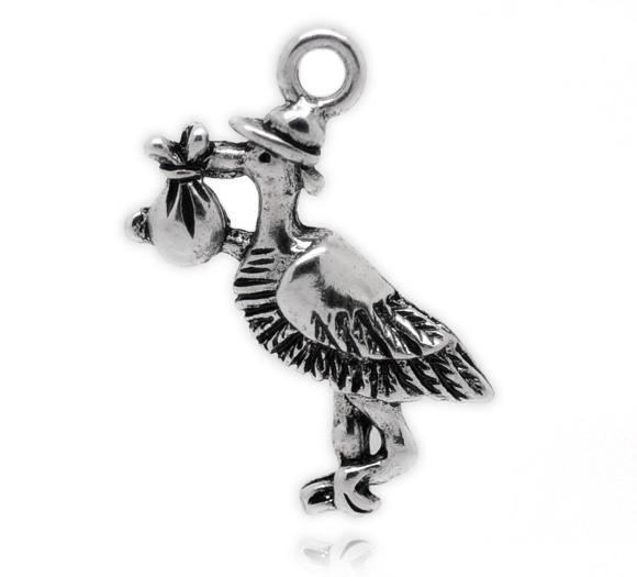 SILVER TONE - STORK - BABY - PACK OF 5