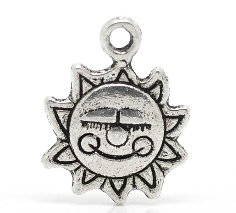 SILVER TONE - 'MADE WITH A SMILE' SUN - PACK OF 10