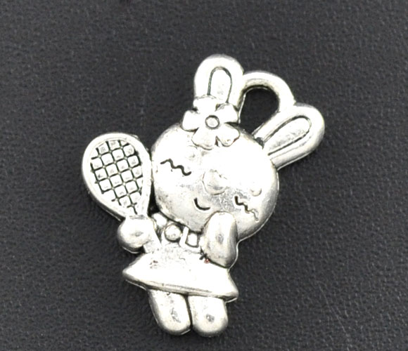 SILVER TONE - CUTE BUNNY WITH TENNIS RACKET - PACK OF 5