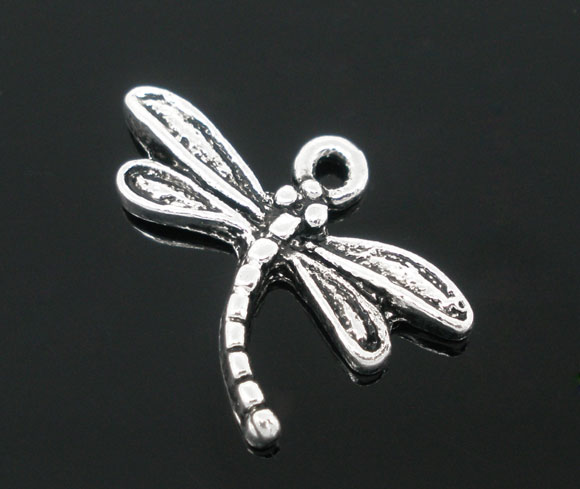 SILVER TONE - MEDIUM SIZE DRAGONFLY A  - PACK OF 5
