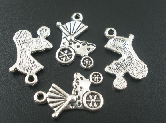 SILVER TONE - PRAM - BABY - PACK OF 5