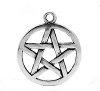 SILVER TONE - PENTAGRAM STAR - PAGAN - HALLOWEEN - PACK OF 5