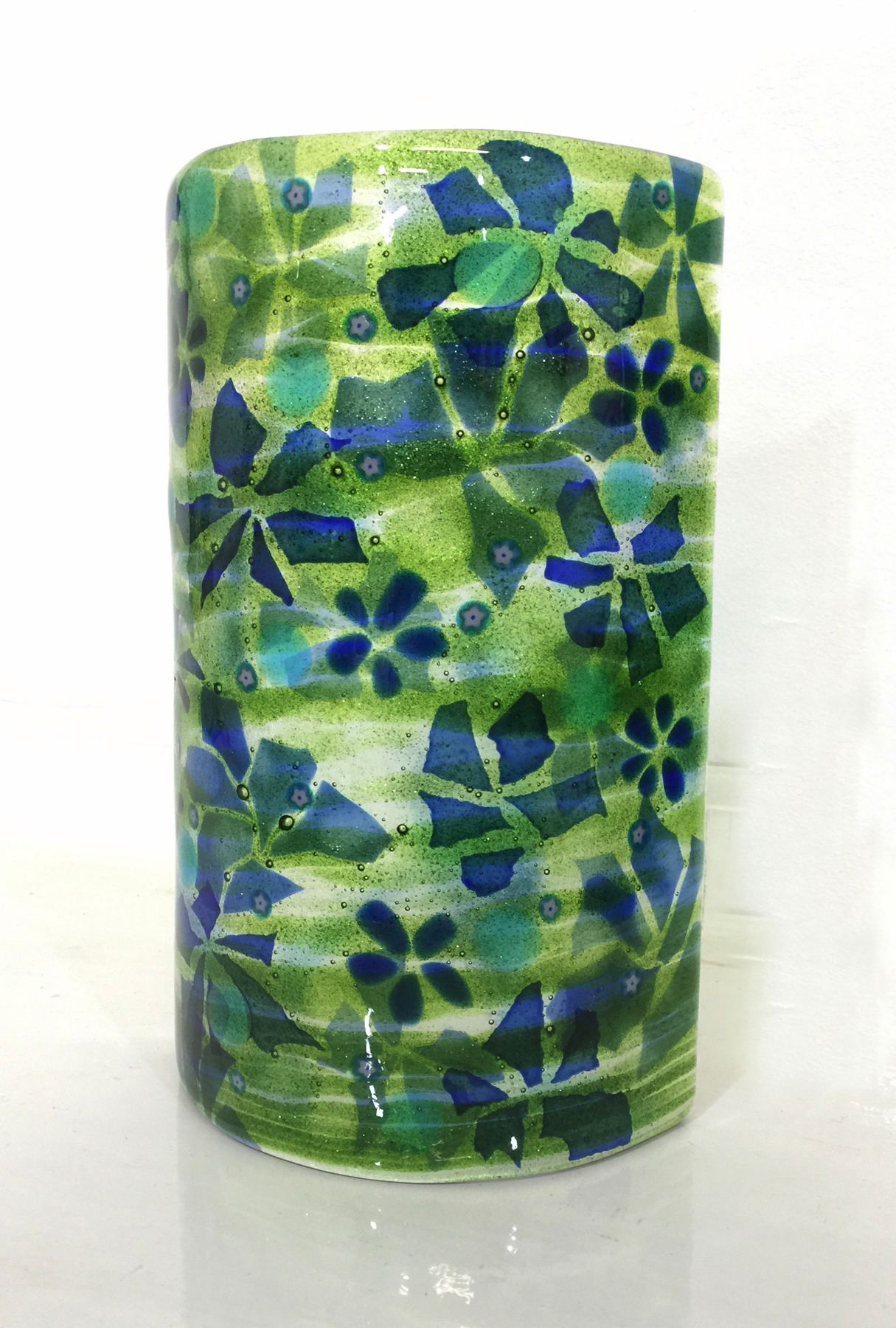 Skilled contemporary fused glass by lisa badger green blue wall light aloadofball Image collections