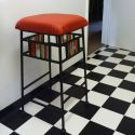 stool red leather