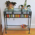 console table glass shelf