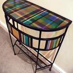bow front plaid table