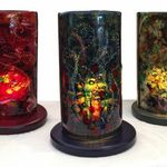 "Three 13"" glass lamps"