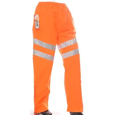 HYM016 (Carton) Hymac Hi Vis Trousers Polyester PU Coated (Orange)
