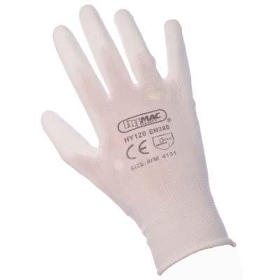 HYM120 (Carton) Hymac Nylon PU Palm Glove (White)