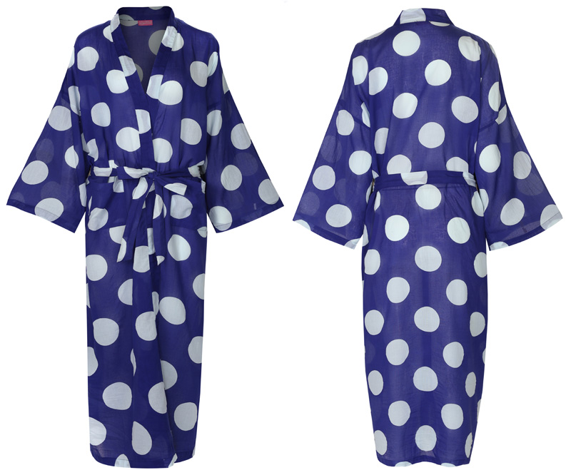 Dressing Gown - White Spot and Blue (second)