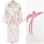 Women's Cotton Dressing Gown Kimono - Long Tailed Bird Red on White