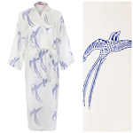 Women's Cotton Dressing Gown Kimono - Long Tailed Bird Blue on White