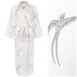 Last One Remaining! Women's Cotton Dressing Gown Kimono - Long Tailed Bird Grey on White