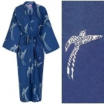 Women's Cotton Dressing Gown Kimono - Long Tailed Bird White on Dark Blue