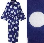 Women's Kimono Dressing Gown - White Spot on Blue - outlet