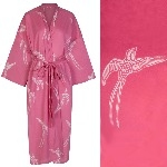 Women's Kimono Dressing Gown - Long Tailed Bird White on Pink - outlet