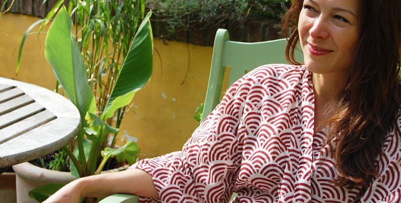 Susannah Cotton Kimono Dressing Gown Rainbow Red