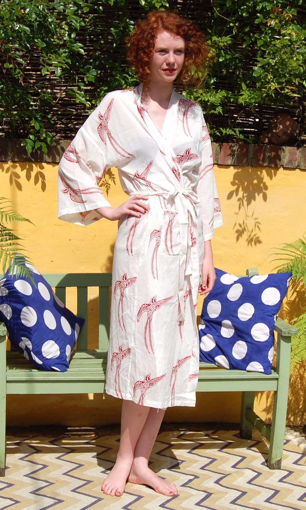 Susannah Cotton Kimono Dressing Gown Long Tailed Bird Red