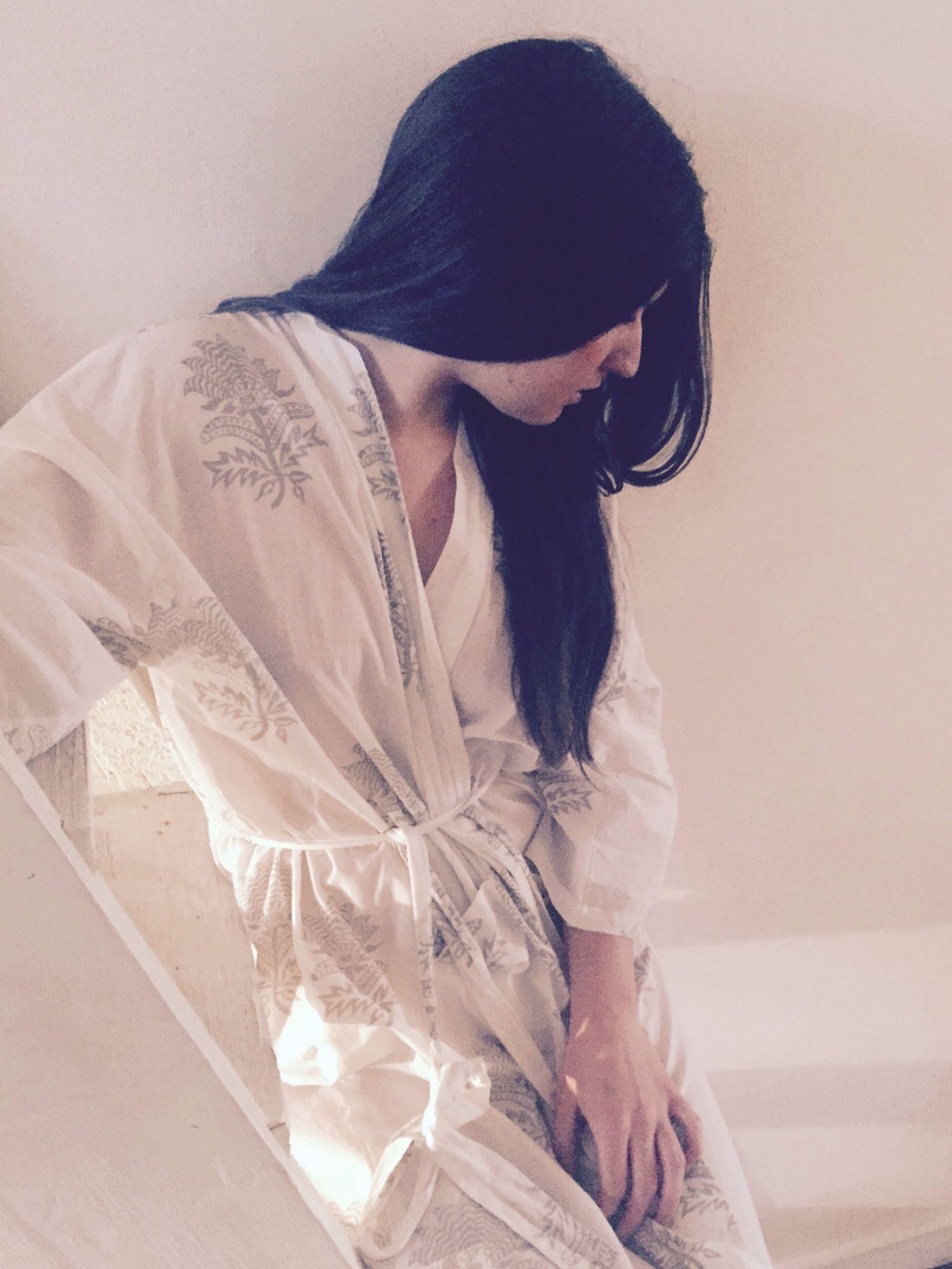 Susannah Cotton Kimono Dressing Gown Tiger Flower Olive