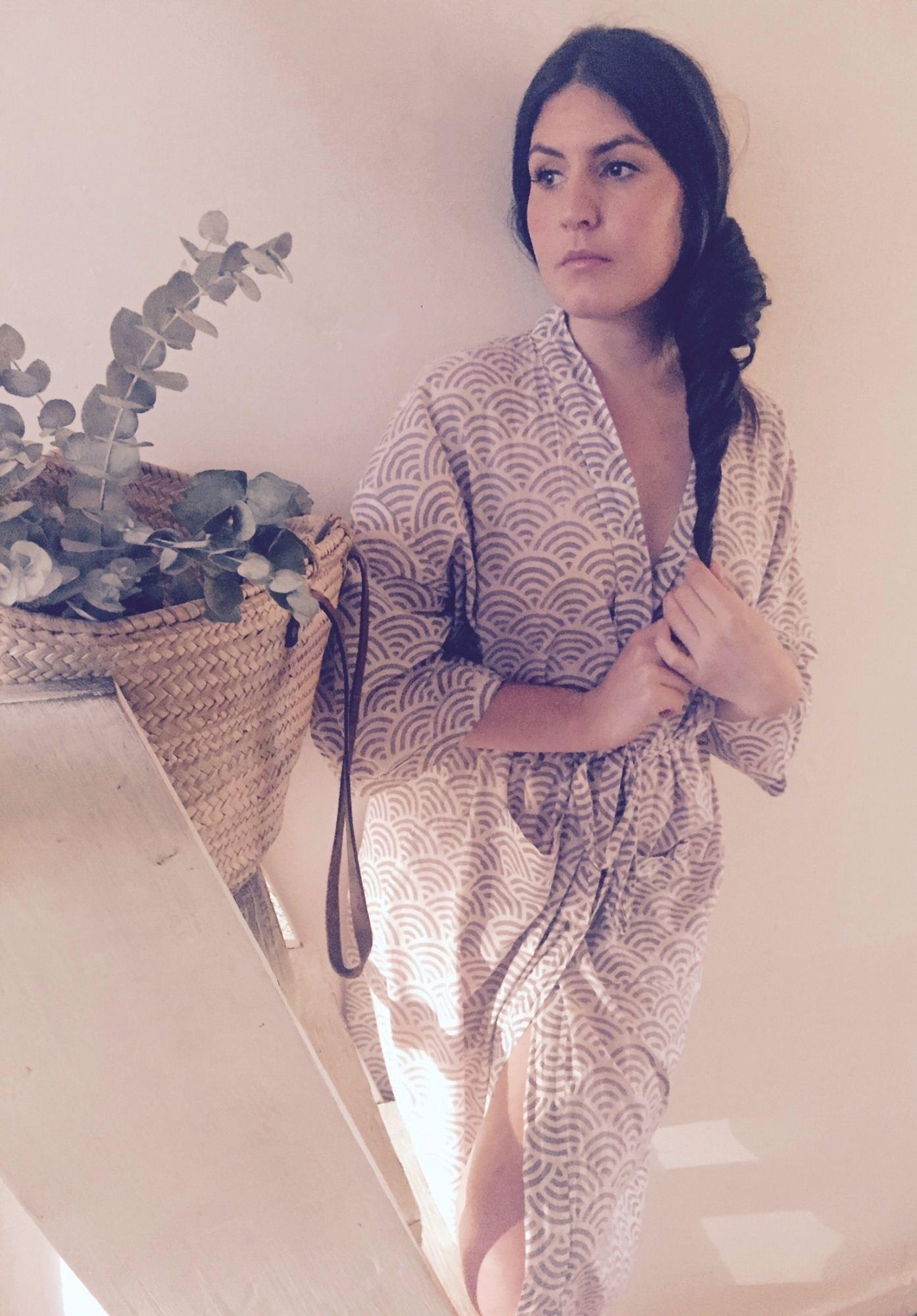 Susannah Cotton Kimono Dressing Gown Rainbow Grey Cotton Kimono Dressing Gown