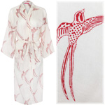Women's Kimono Dressing Gown - Long Tailed Bird Red on White - outlet
