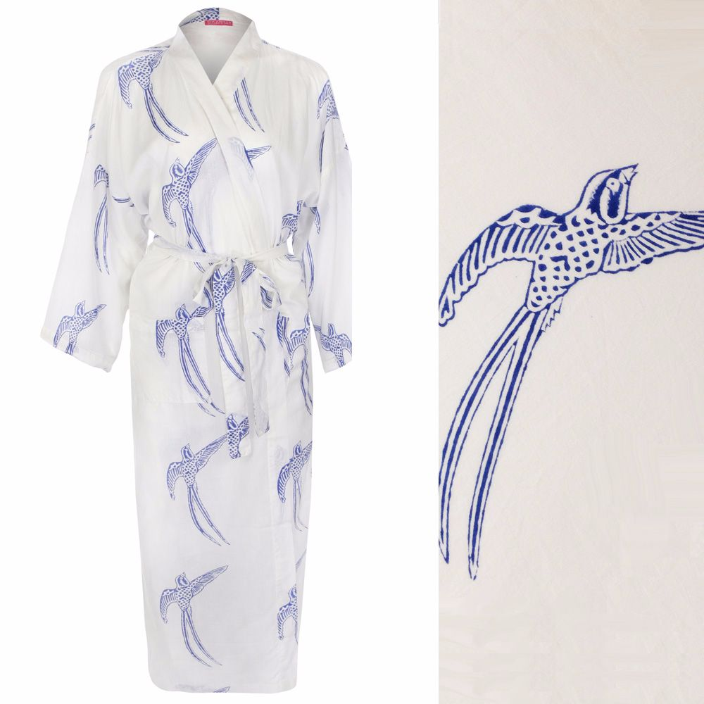 Kimono Style Dressing Gown - Long Tailed Bird Blue on White (outlet) de6016fbf