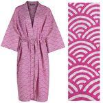Women's Cotton Dressing Gown Kimono - Rainbow White on Pink