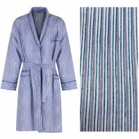 Men's Dressing Gown - Blue and Grey Stripes - outlet