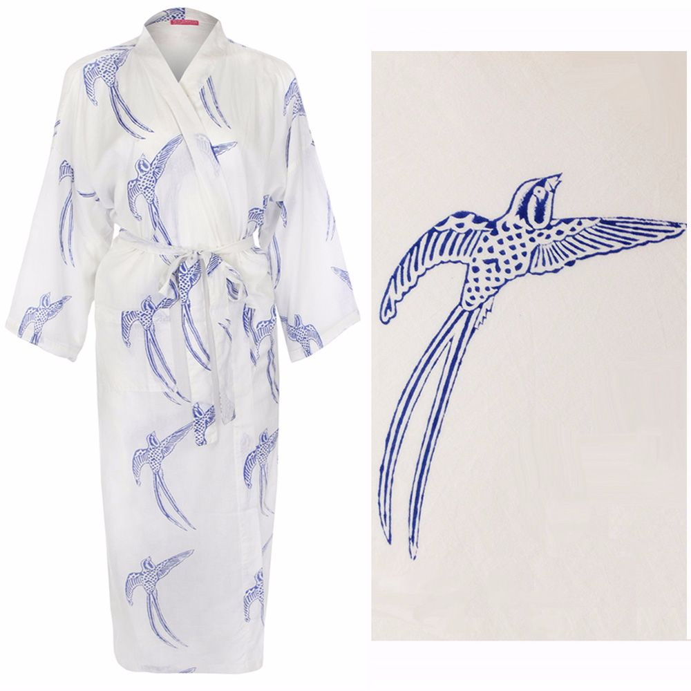 <!-- 003 -->Women's Kimono Dressing Gown - Long Tailed Bird Blue on White