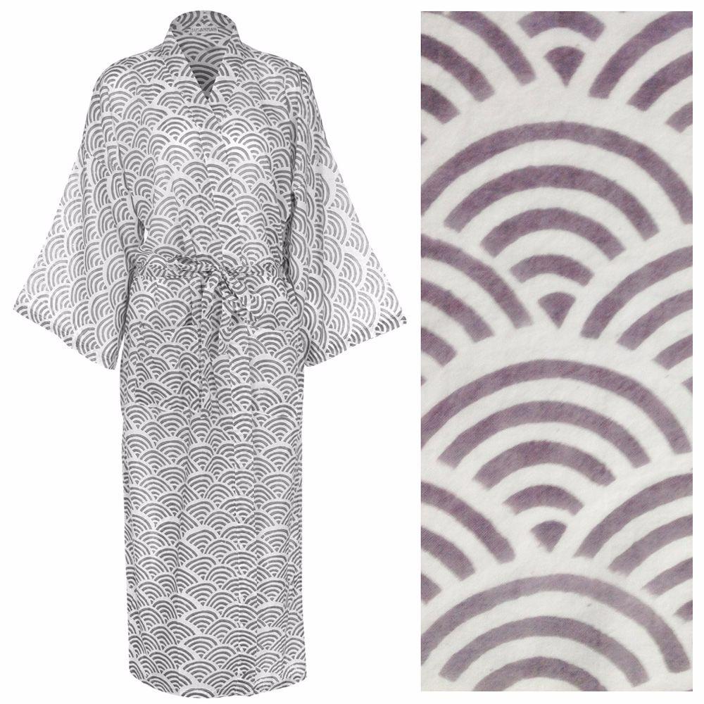 Susannah Cotton Dressing Gown Kimono Rainbow Grey