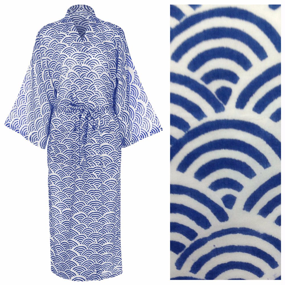 c2c96695ce Susannah Cotton Dressing Gown Kimono Rainbow Blue