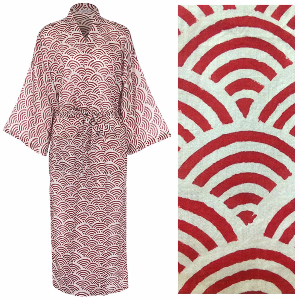 Susannah Cotton Dressing Gown Kimono Rainbow Red