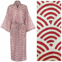 Women's Cotton Dressing Gown Kimono - Rainbow Brick Red
