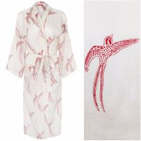 Women's Cotton Dressing Gown Kimono - Long Tailed Bird Red on White