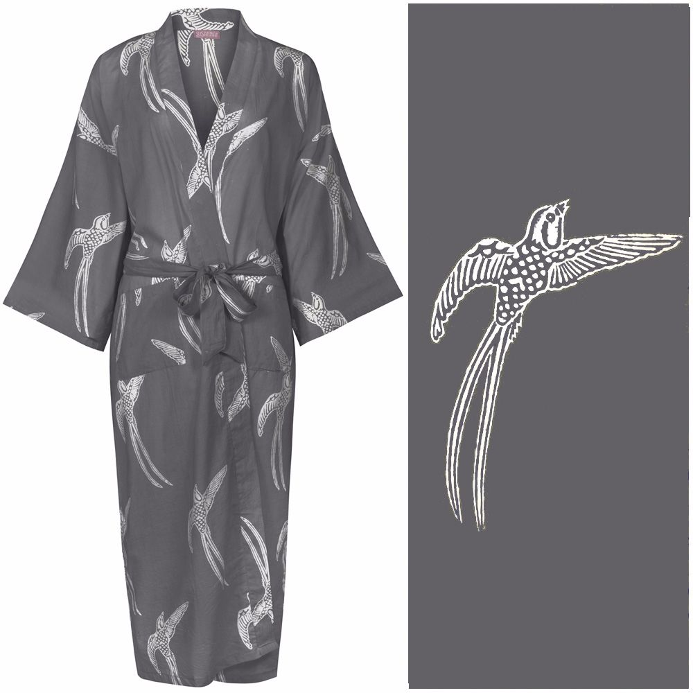<!-- 002 -->Women's Kimono Dressing Gown - Long Tailed Bird White on Dark G