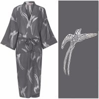 Women's Cotton Dressing Gown Kimono - Long Tailed Bird White on Dark Grey