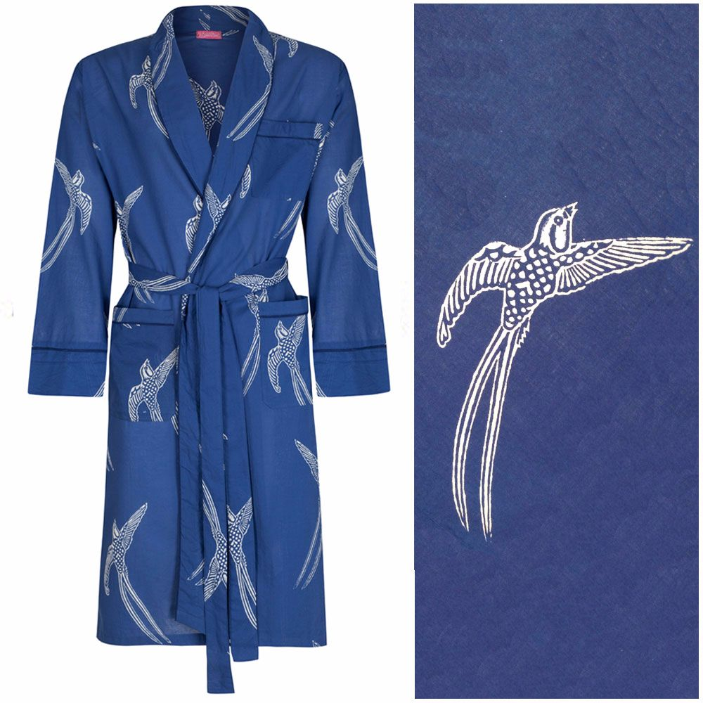 Men's Dressing Gown - Long Tailed Bird White on Dark Blue - outlet