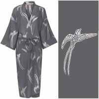 Women's Kimono Dressing Gown - Long Tailed Bird White on Grey - outlet