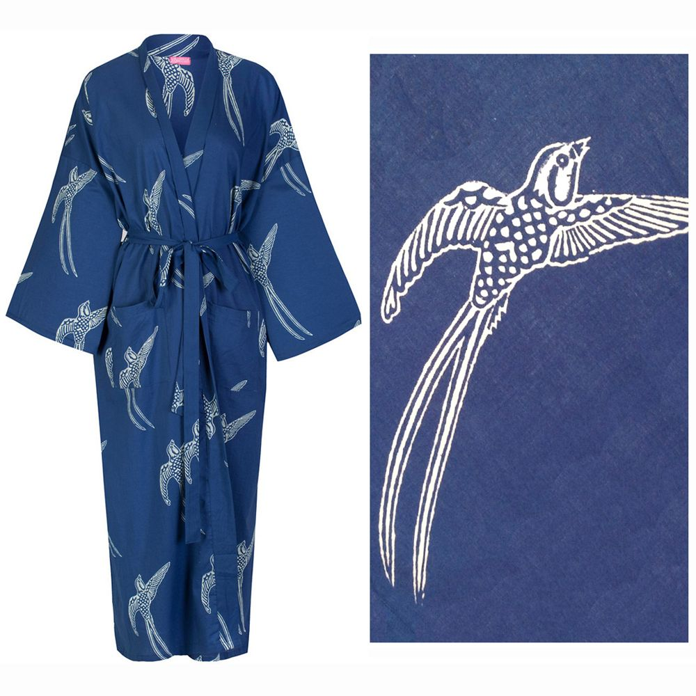 Women's Kimono Dressing Gown - Long Tailed Bird White on Dark Blue (outlet)