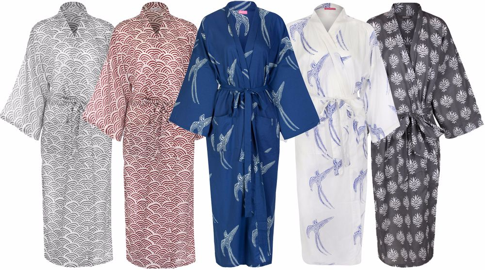 Hand Printed Cotton Dressing Gowns Bath Robes For Women