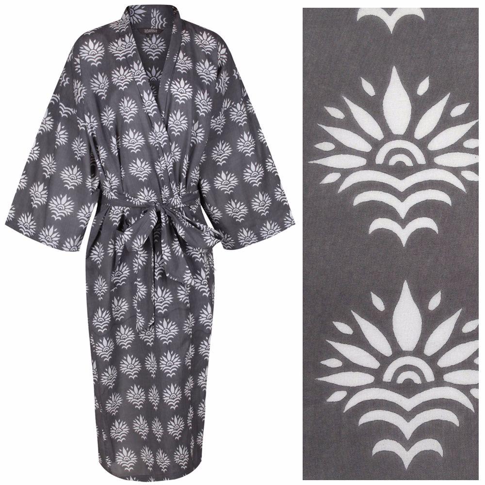 Women\'s Cotton Dressing Gown Kimono - Sun Flower White on Grey