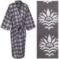 Women's Cotton Dressing Gown Kimono - Sun Flower White on Grey