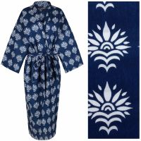 Women's Cotton Dressing Gown Kimono - Sun Flower White on Dark Blue