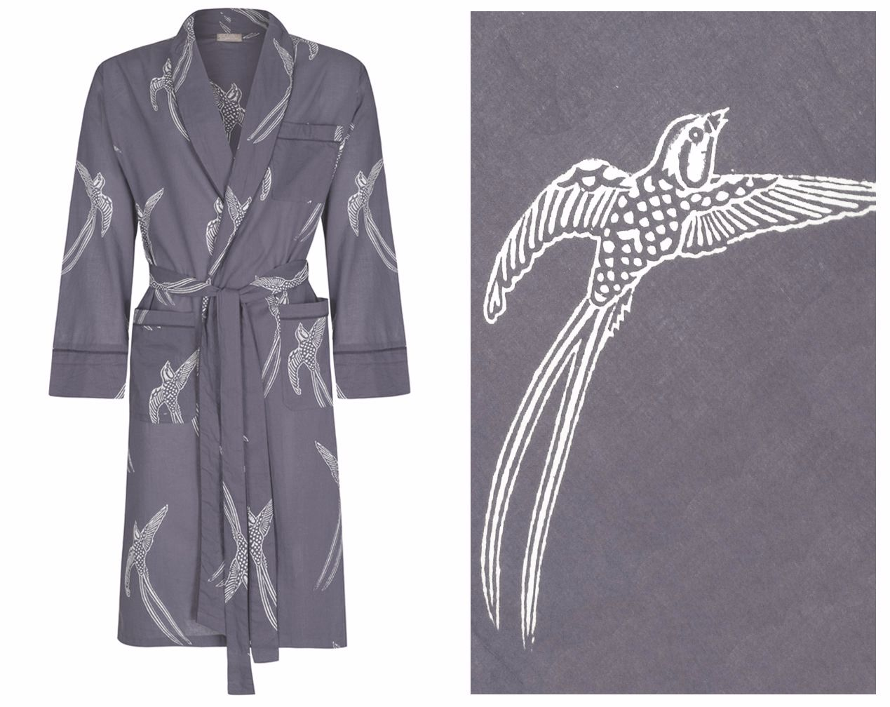 NEW! Men's Cotton Dressing Gown Robe - Long Tailed Bird White on Grey