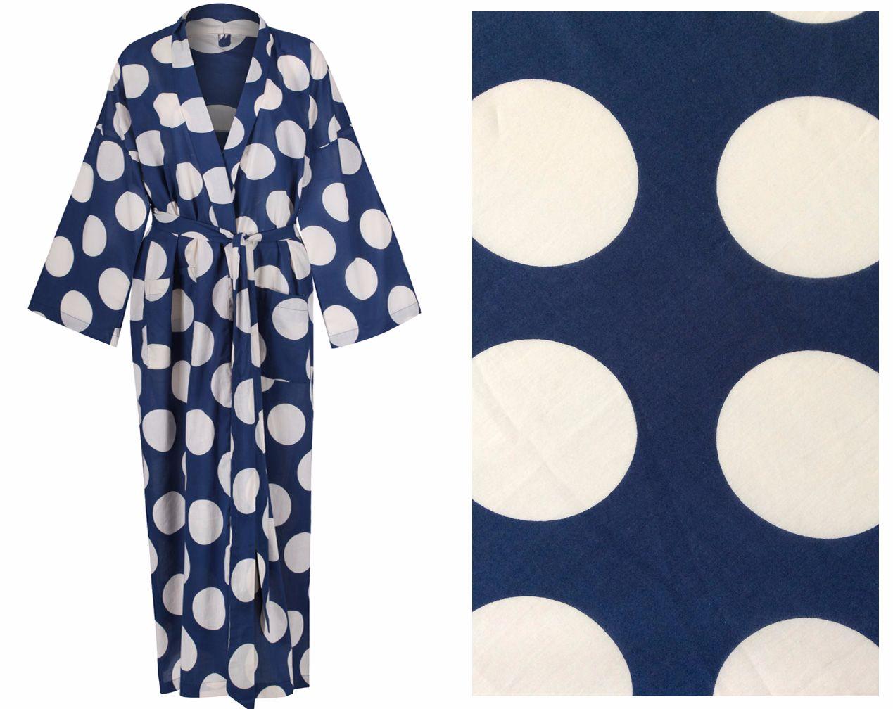 New! Women's Cotton Dressing Gown Kimono - White Spots on Dark Blue